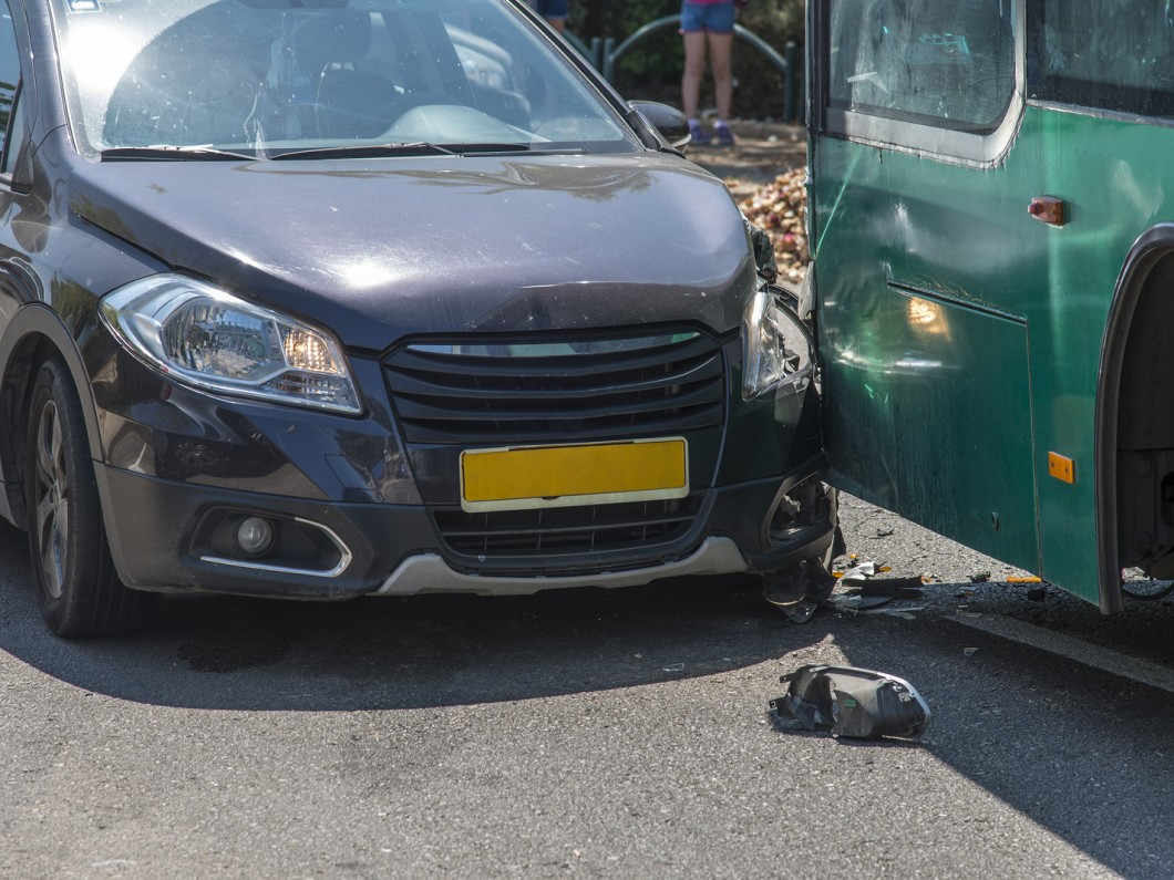 car accident involving a bus